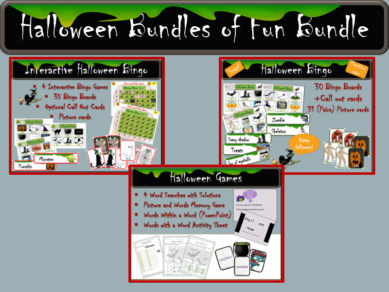 Halloween Interactive Bingo, Bingo Cards and Call Out Cards, Word Searches, Picture Cards Games Words in a Word Bundle