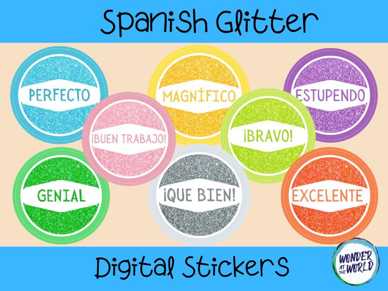 Spanish glitter digital stickers