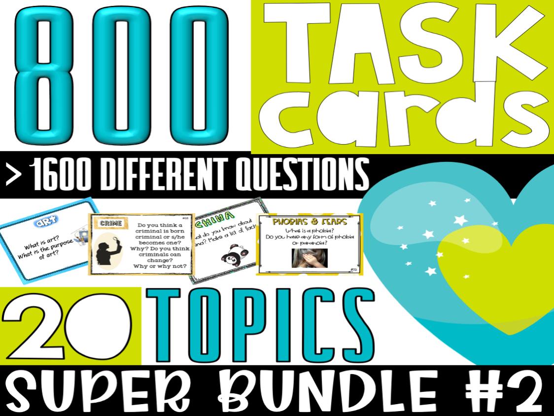 ESL/ELL/ELA Conversation Starters Task Cards | SUPER BUNDLE#2 | For Teens