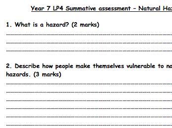 KS3 Natural Hazards - Assessment