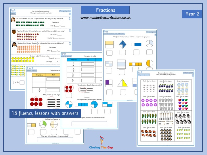 Year 2 Fraction differentiated worksheets