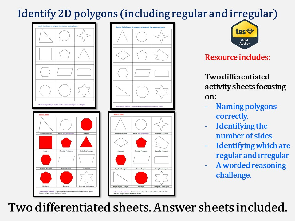 Identify 2D polygons (including regular and irregular - Answers included)