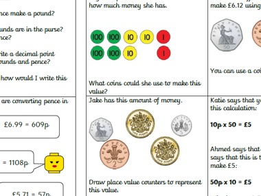 Money Year 3/4 varied fluency and reasoning:Recognising money making values using different coins