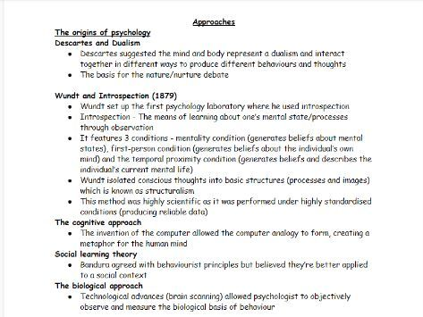 AQA A-level Psychology: Approaches