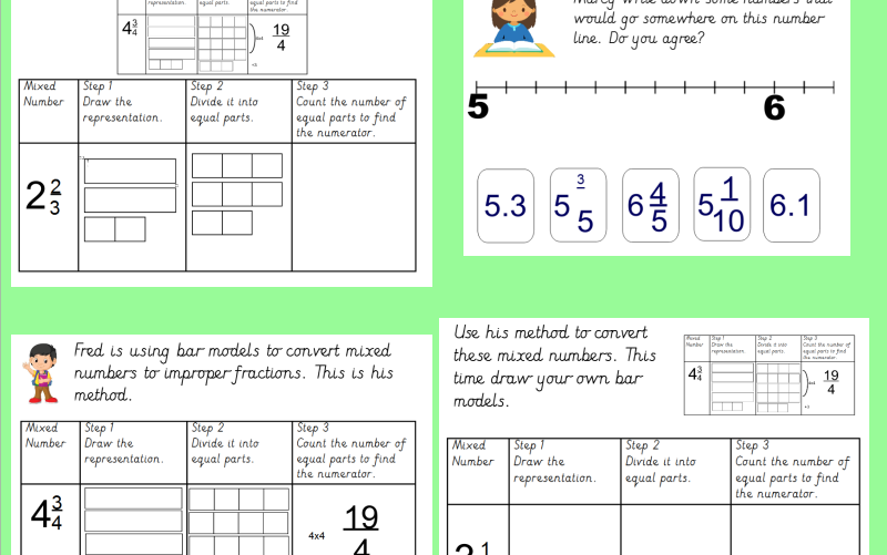 bar models converting mixed numbers to improper fractions linked  bar models converting mixed numbers to improper fractions linked to white  rose scheme by missjg  teaching resources  tes