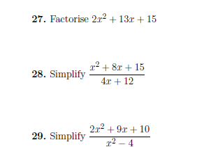 Mixed algebra questions worksheet (with solutions)