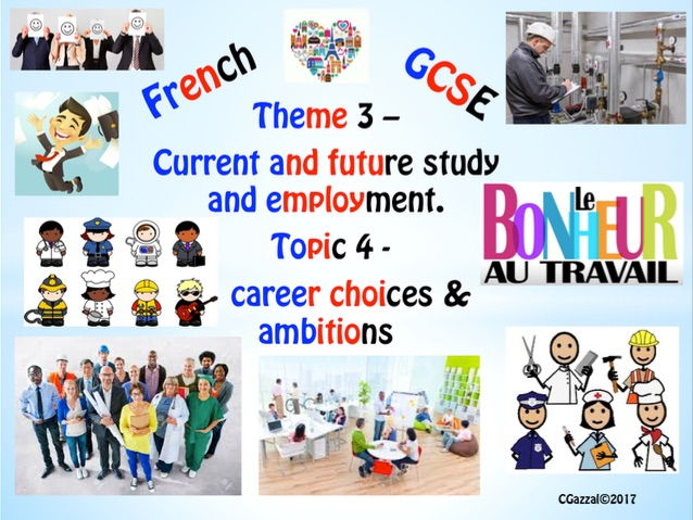 French GCSE New Specifications - Theme 3, Topic 4 - Jobs, career choices and ambitions.