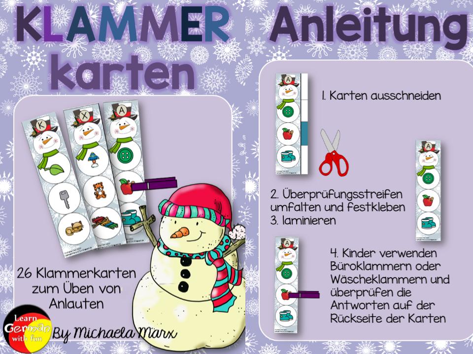 German beginning letters- Klammerkarten zu Übung der Anlaute