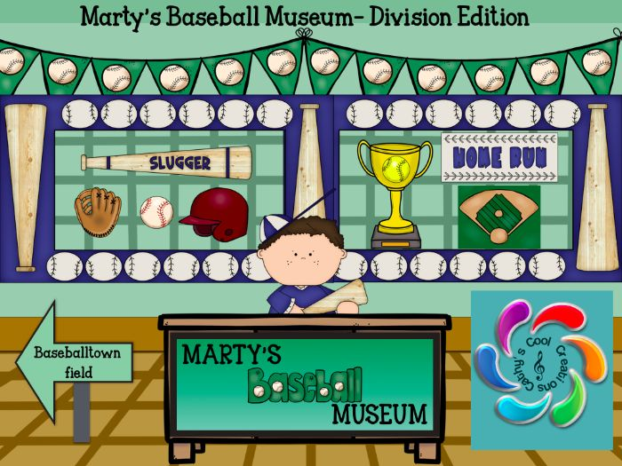 Marty's Baseball Museum-Interactive Division Game for Google Slides and Adobe Reader