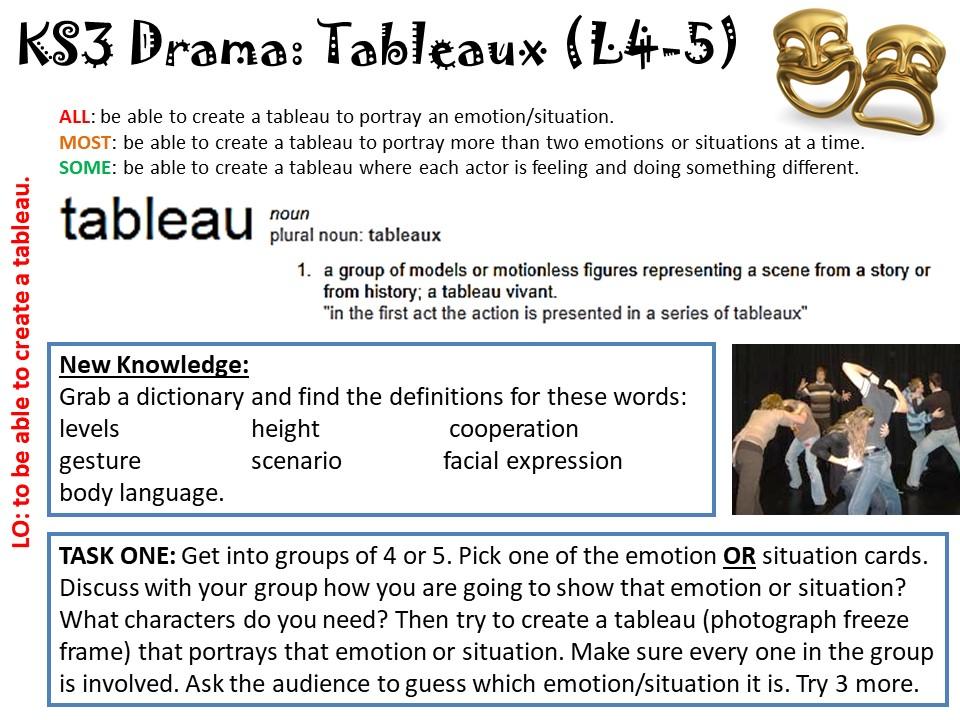 KS3 Drama - Creating a Tableau lesson
