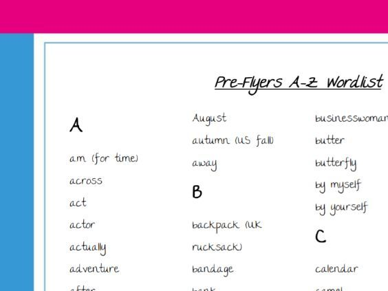 Word list for Pre-flyers Cambridge exam CYLE