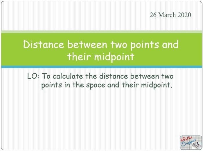 Distance between two points in a 3-D space and their mid-point