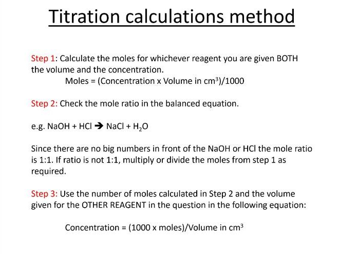 Edexcel GCSE 2017 Chemistry Titrations Calculations