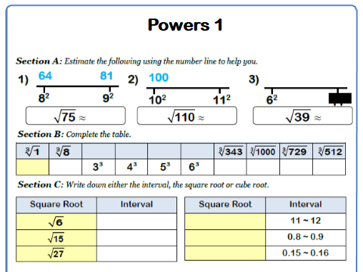 Estimating Square and Square Roots 9-1 GCSE Maths Worksheet with Answers