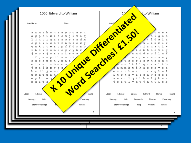 1066 Edward to William Differentiated Wordsearch x 10