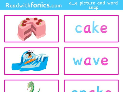 Phonics split digraph a_e snap. Flashcards with pictures and words