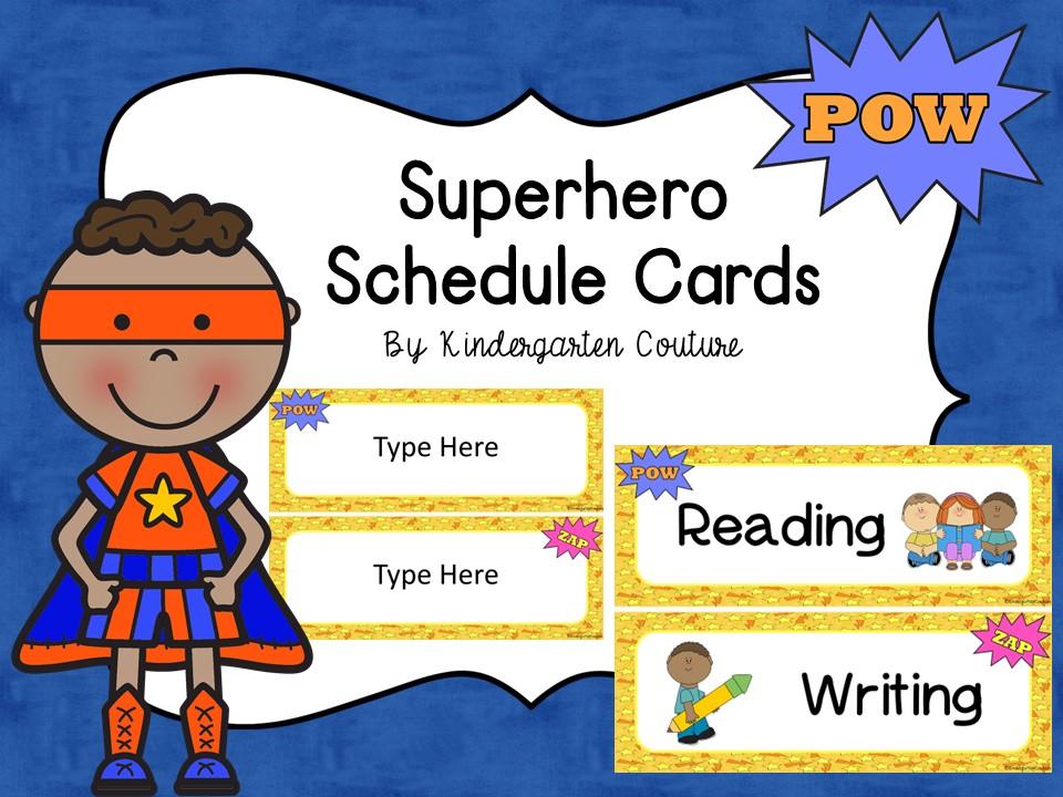 Superhero Schedule Cards -Editable