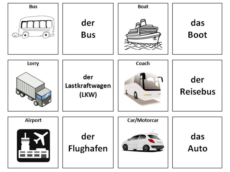 Transport: German Vocabulary Card Sort