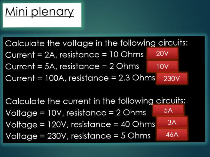 Current, resistance and voltage lesson