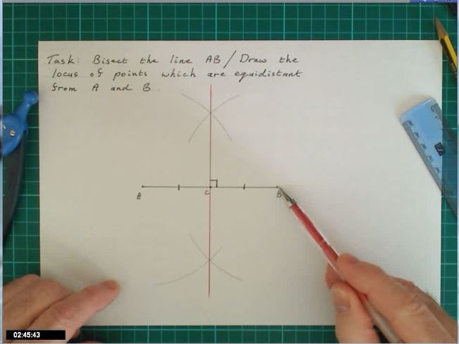 Video describing how to bisect a line / draw locus of points equidistant from two points.