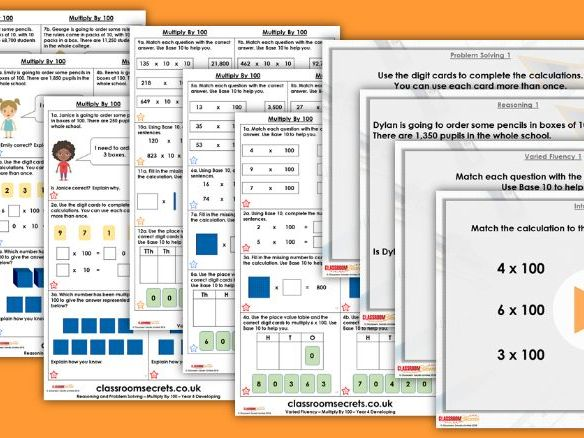 Year 4 Multiply by 100 Autumn Block 4 Step 2 Lesson Pack