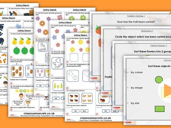 FREE Year 1 Sorting Objects Autumn Block 1 Step 1 Maths Lesson Pack