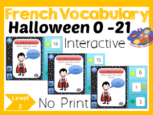 French Halloween Number Game - Number words to Numbers 1 - 21 - No Print