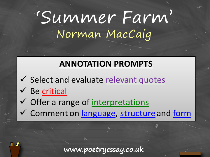 Norman MacCaig – 'Summer Farm' – Annotation / Planning Table / Questions / Booklet