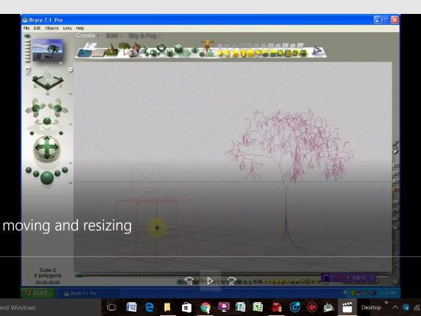 Bryce 3D - Video Tutorials - No 4 - The Interface - The Edit Toolbar - Moving and Resizing