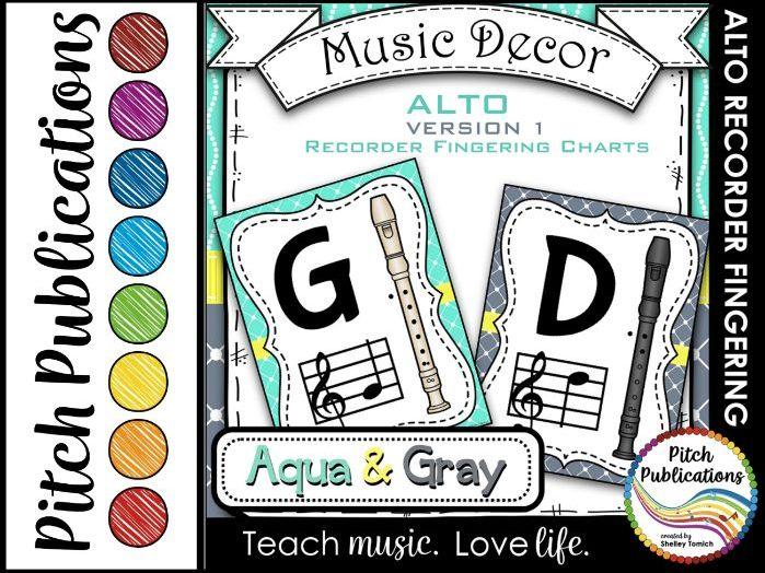 Alto Recorder Fingering Chart Posters v1 Black/Tan- Music Decor Aqua Gray