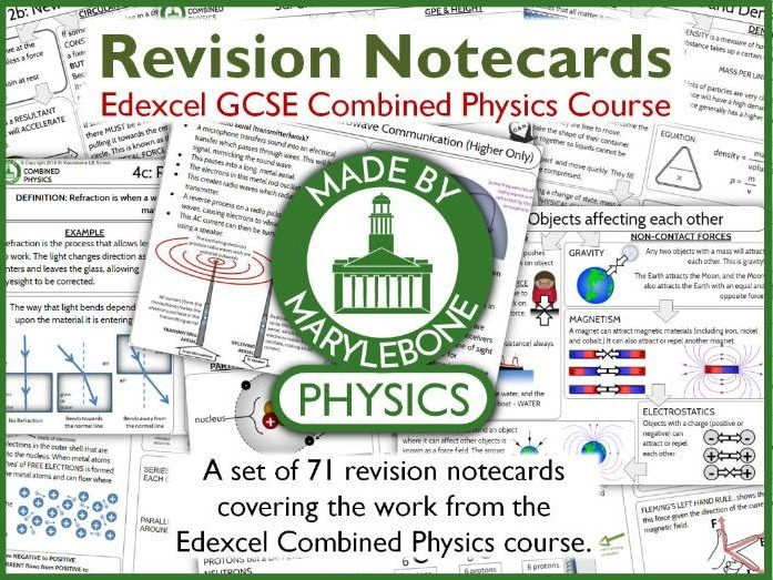Edexcel GCSE 9-1 Combined Physics Notecards (Revision Cards) - THE COMPLETE SET!