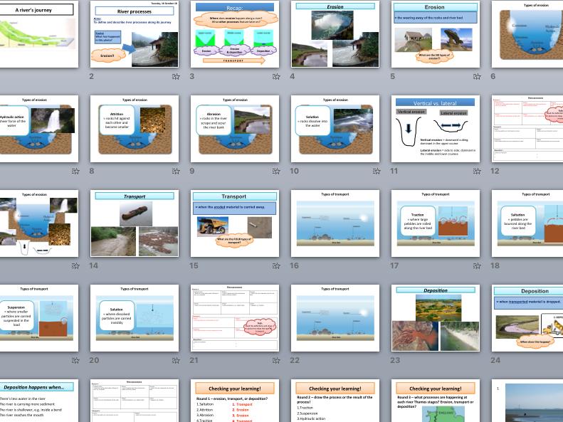 River processes - erosion, transport, deposition (KS4 Physical Landscapes in the UK)