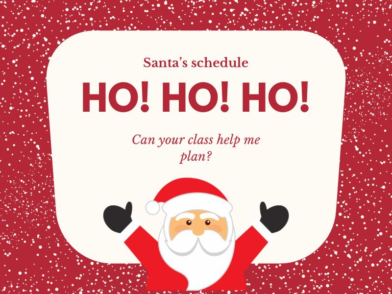 Santa's schedule time worksheet