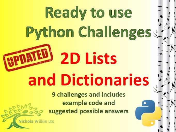 Python 2D Lists and Dictionaries