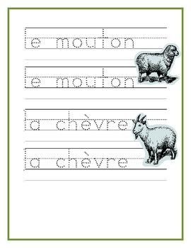 Animaux de ferme (Farm Animals in French) Writing, Reading, Counting Worksheets