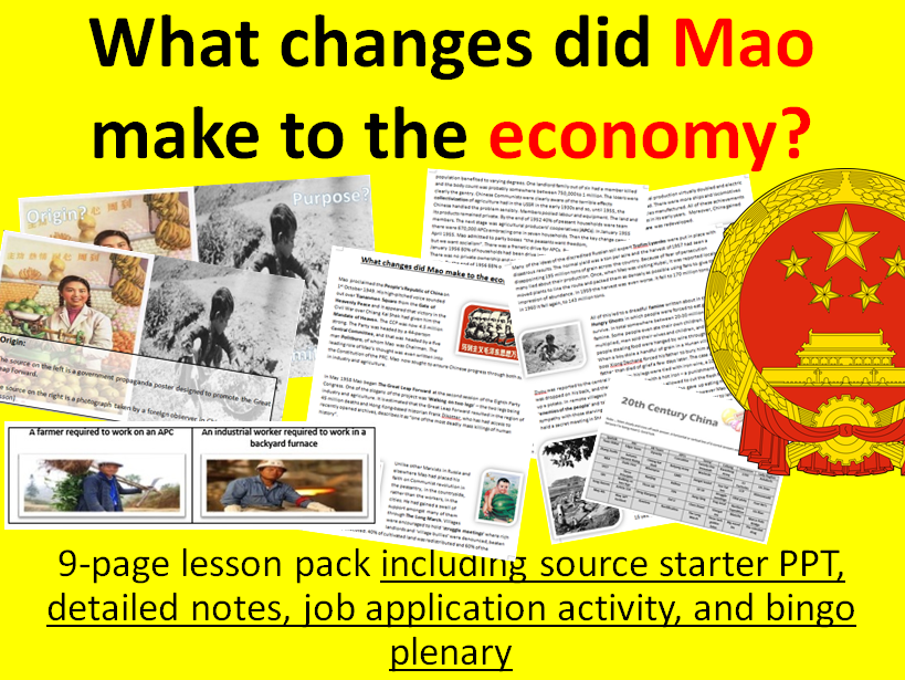 Mao's economy - 9-page full lesson (source starter PPT, notes, job wksheet activity,  bingo plenary)