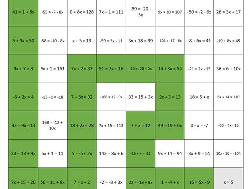 Linear Equations Maze