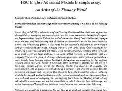 HSC Advanced Artist of the Floating World Talking Points AND Sample Essay