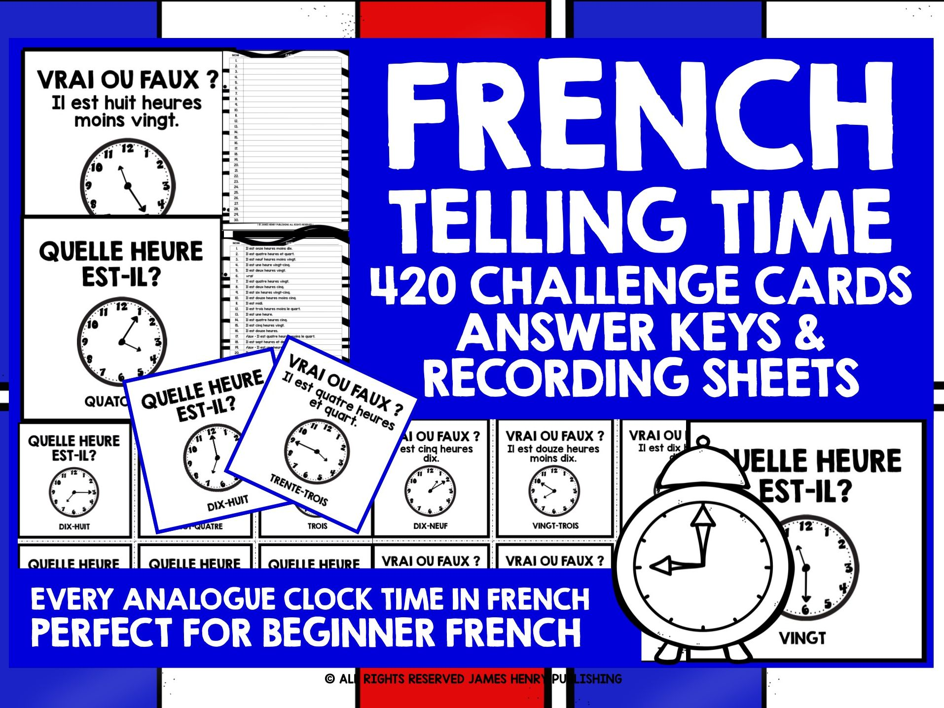 FRENCH TELLING TIME CHALLENGE CARDS