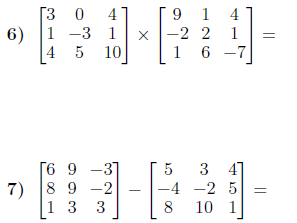 Operations with matrices worksheet (with solutions)