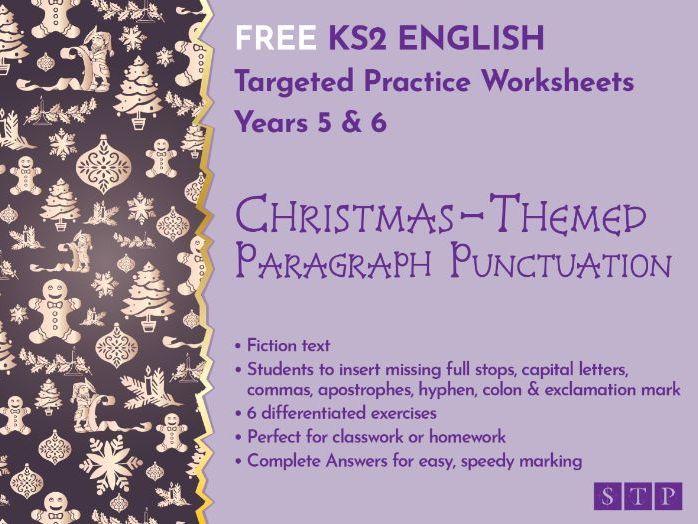 Christmas Punctuation Worksheets Paragraphs KS2