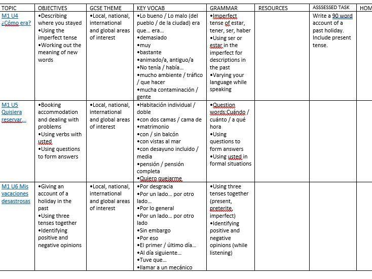 Viva GCSE Year 1 Scheme of Work