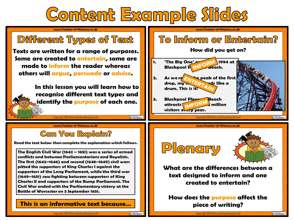 Texts to Inform and Entertain - PowerPoint presentation and worksheets