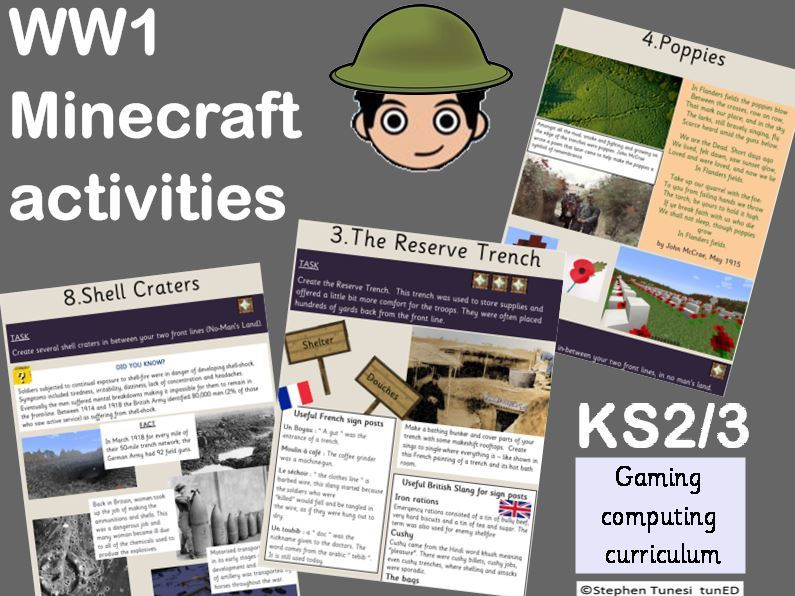 Minecraft WW1 trench warfare fact sheet activity Computing gaming Keystage 1, 2 , 3 KS2 KS3  History