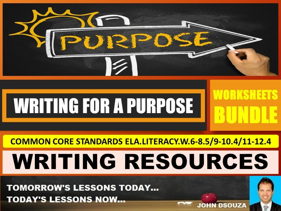 WRITING FOR A PURPOSE WORKSHEETS WITH ANSWERS BUNDLE