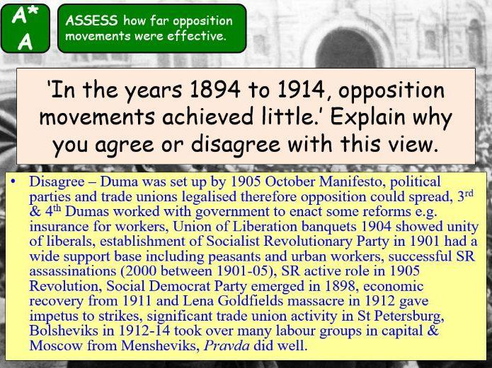 AQA A-Level Tsarist & Communist Russia Lesson 39 (Social Democrat Opposition)