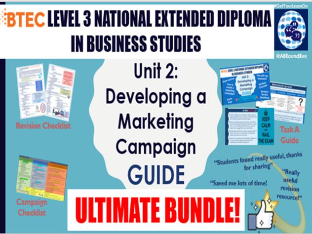 BTEC L3 BUSINESS - Unit 2: Developing a Marketing Campaign ULTIMATE BUNDLE!