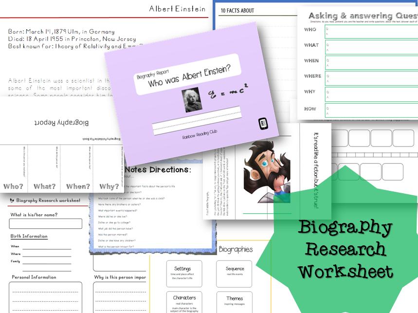 Biography Research Report / Albert Einstein Biography worksheet