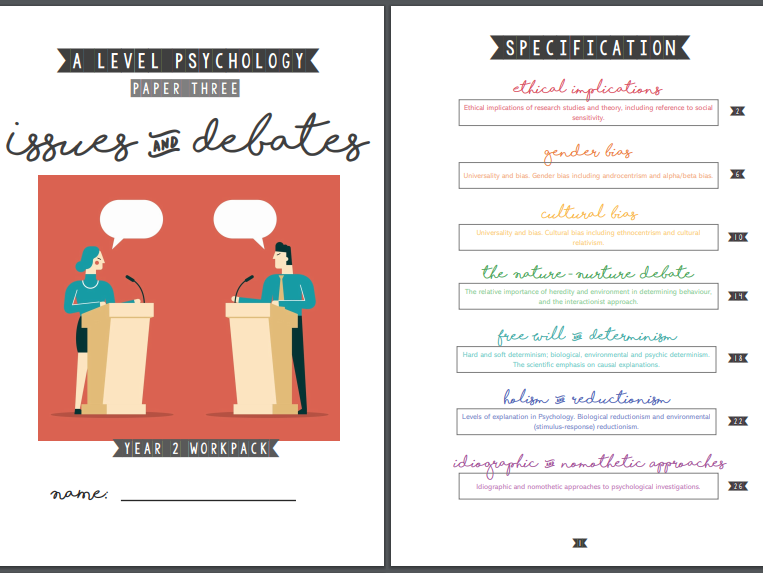Issues & Debates Topic Workpack - AQA Psychology Year 2