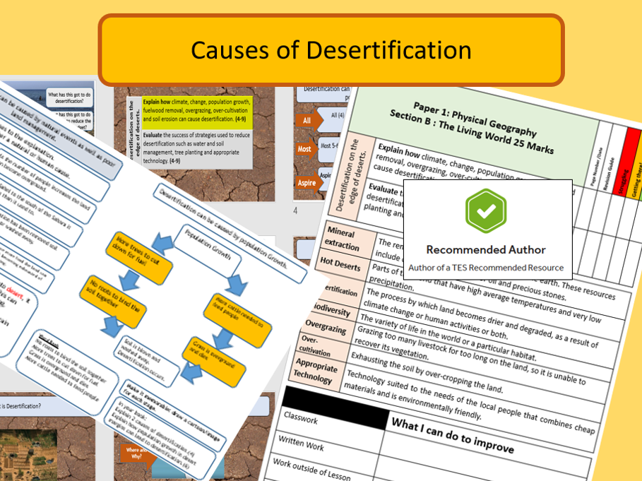 AQA 9-1 GCSE Geography - Hot Deserts , Causes of Desertification